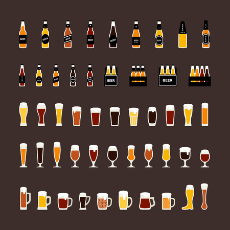 beer tulip: Beer bottles and glasses colored icons set in flat style. Vector