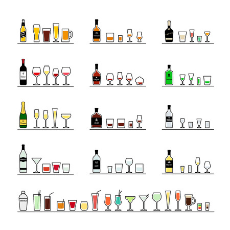 Alcoholic beverages, bottles and recommended glasses. Vector icons set