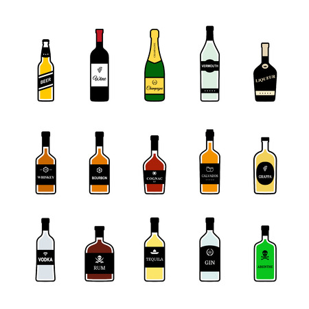 Bottles of alcoholic beverages. Vector colorful icons set
