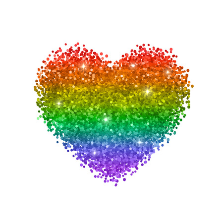 Glitter heart, colors of rainbow, LGBT symbol. Isolated on white background. Vector Иллюстрация