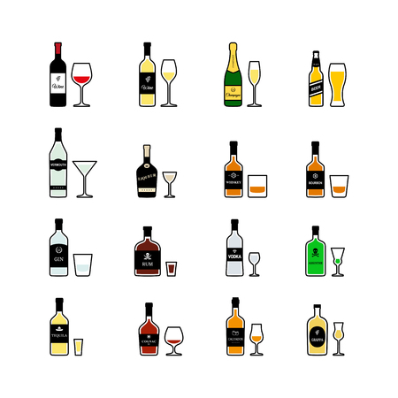 Alcoholic drinks, bottles and recommended glasses.