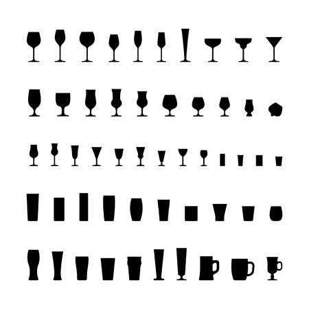 Bar glassware black silhouette icons set