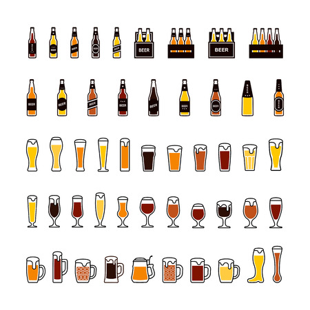 Beer bottles and glasses color icons set. Vector