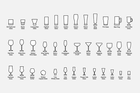 Types of glasses with names, line icons set. Vector illustration Stock Illustratie