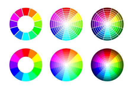 Color wheel from 12 color rgb, vector set on white background Ilustração