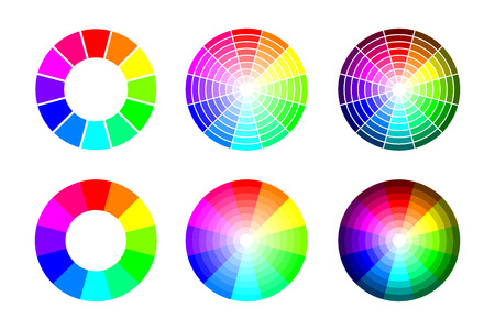 Color wheel from 12 color rgb, vector set on white background Illustration