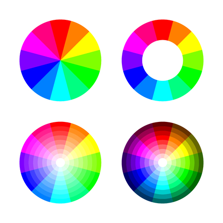 Set of color wheel 12 color rgb on white background Illustration