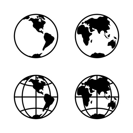 World icon set on white background, 2 hemispheres. Illustration