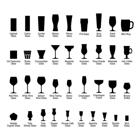 Bar glasses with names, black silhouette icons set