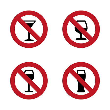 No alcohol Signs set with various drink glasses