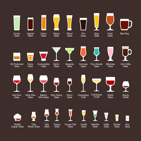 beer tulip: Glass types with titles, flat icons set on dark background, vector illustration