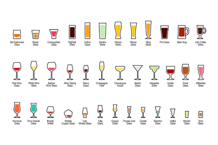 highball: Bar glassware with titles, color icons set on white background. Vector illustration.