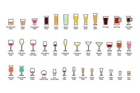 Cristalería de bar con títulos, iconos de color conjunto sobre fondo blanco. Ilustración del vector.