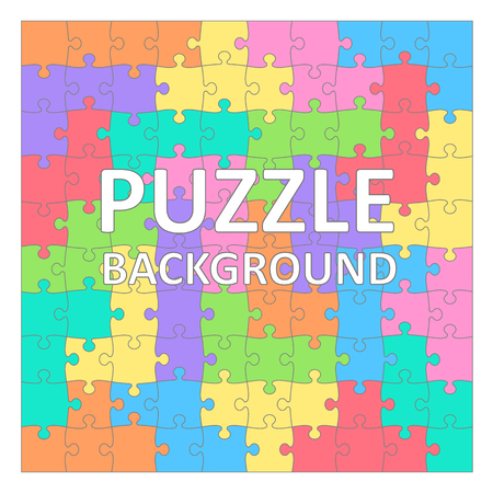 tetris: Childrens Puzzles pattern with colored tetris shapes. 100 pieces. Illustration