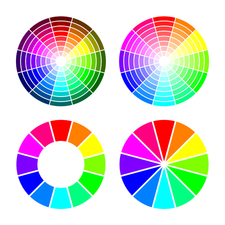 RGB color wheel from 12 color, red green blue, vector set on white background Illustration