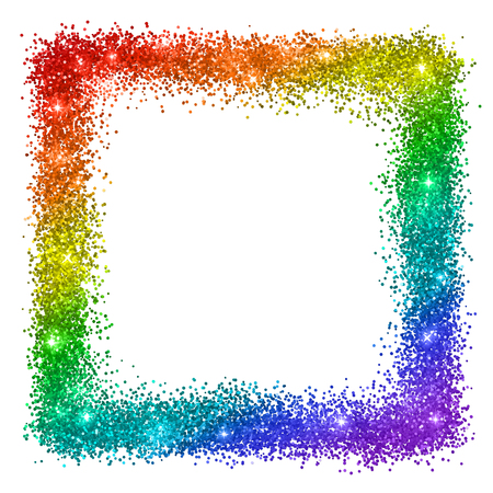 Multicolor glitter square frame, rainbow colors, isolated on white background. Vector Stock Photo