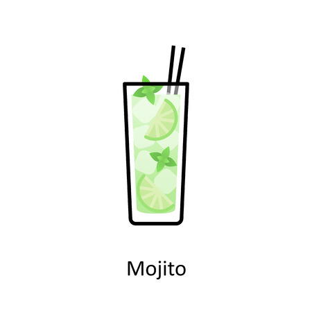 Mojito cocktail icon in flat style Иллюстрация