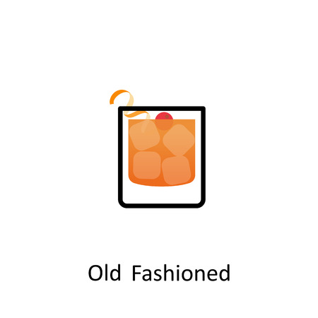 Old Fashioned cocktail icon in flat style