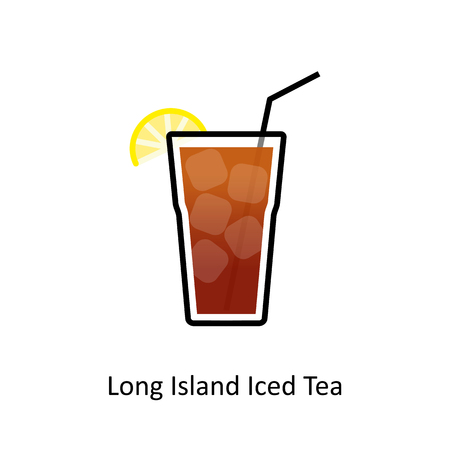 Long Island Iced Tea cocktail icon in flat style.