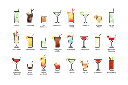 Popular alcoholic cocktails with titles, icons set in flat style on white background. Vector Vectores