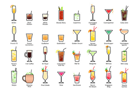 Alcoholic cocktails with titles. IBA official cocktails, Contemporary Classics. Icons set in flat style