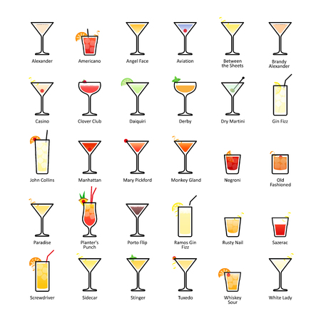 Alcoholic cocktails with titles. IBA official cocktails, The Unforgettables. Icons set in flat style Stock Photo