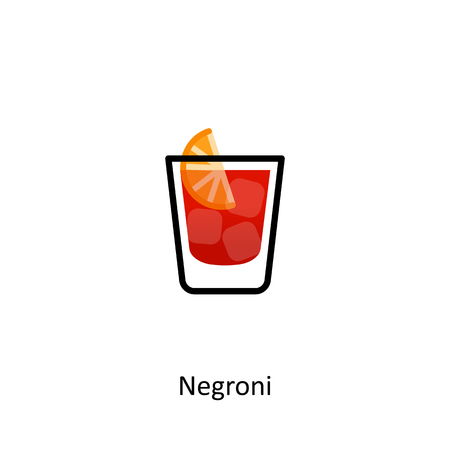 Negroni cocktail icon in flat style