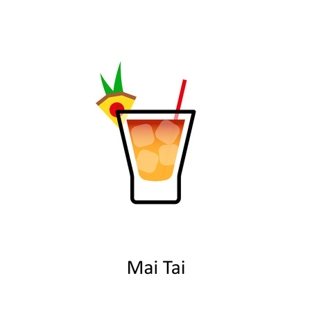 Mai Tai cocktail icon in flat style