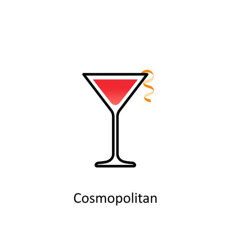 sec: Cosmopolitan cocktail icon in flat style