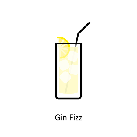 long drink: Gin Fizz cocktail icon in flat style Illustration