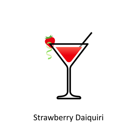 Strawberry Daiquiri cocktail icon in flat style Stock Photo