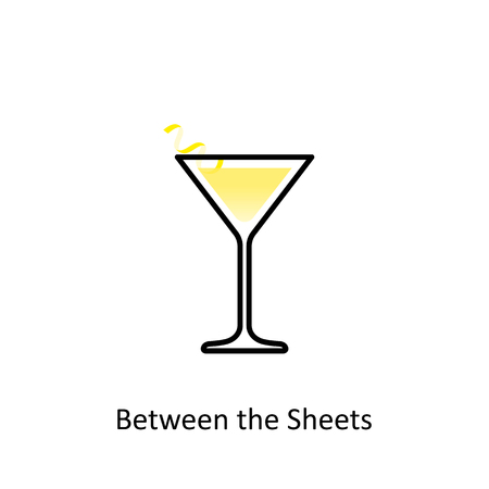 Between the Sheets cocktail icon in flat style Illustration