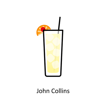John Collins cocktail icon in flat style