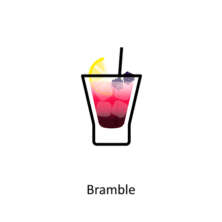 Bramble cocktail icon in flat style