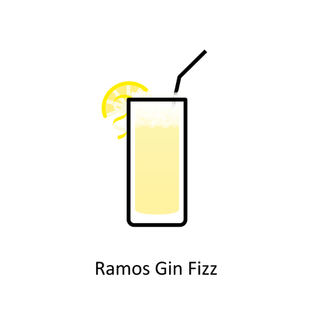 Ramos Gin Fizz cocktail icon in flat style  イラスト・ベクター素材