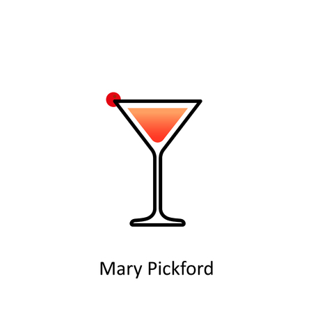 Mary Pickford cocktail icon in flat style. Vector illustration