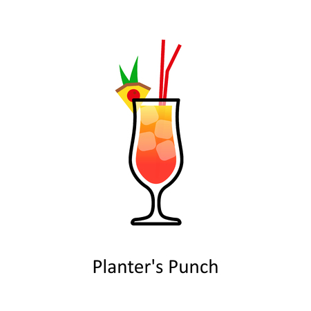 long drink: Planters Punch cocktail icon in flat style. Vector illustration