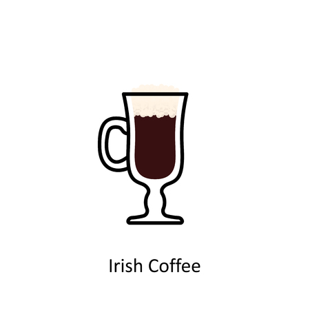 Irish Coffee cocktail icon in flat style. Vector illustration Illustration