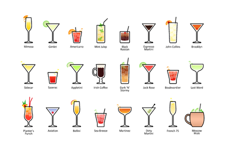 Popular alcoholic cocktails with titles part 2, icons set in flat style on white background. Vector