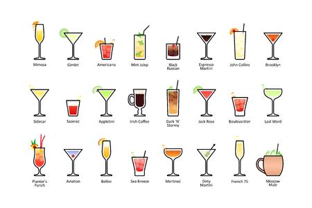 Los cócteles alcohólicos populares con los títulos parte 2, iconos fijados en estilo plano en el fondo blanco. Vector