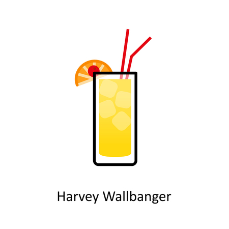 Harvey Wallbanger cocktail icon in flat style. Vector illustration