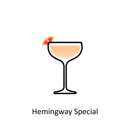 rum: Hemingway Special cocktail icon in flat style. Vector illustration