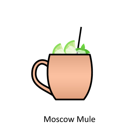 Moscow Mule cocktail icon in flat style. Vector illustration Illustration