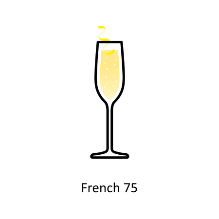 French 75 cocktail icon in flat style. Vector illustration