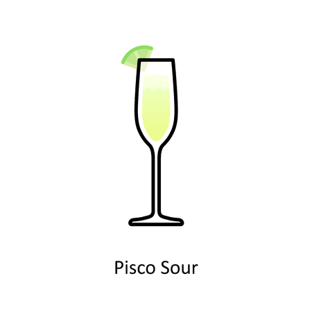 Pisco Sour cocktail icon in flat style. Vector illustration.