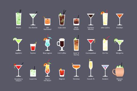Najpopularniejsze koktajle alkoholowe cz. 1, ikony w płaski na ciemnym tle. Wektor Ilustracje wektorowe