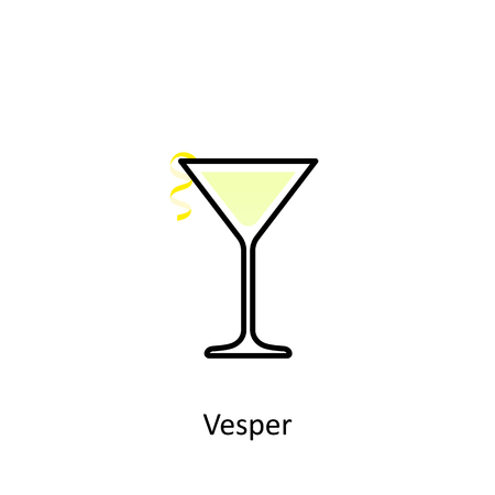 Vesper cocktail icon in flat style. Vector illustration Иллюстрация