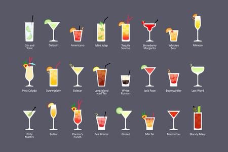 Najbardziej popularne koktajle alkoholowe część 2, ikony ustawione w płaskim stylu na ciemnym tle. Wektor