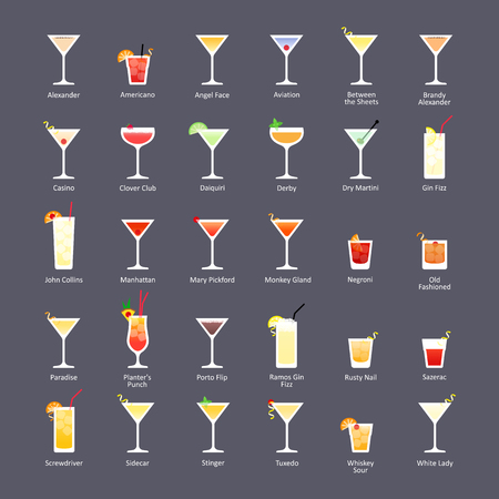 Alcoholic cocktails, IBA official cocktails The Unforgettables. Icons set in flat style on dark background. Vector Vetores