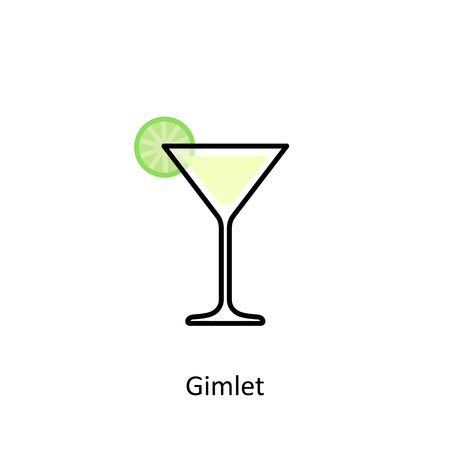 Gimlet cocktail icon in flat style. Vector illustration